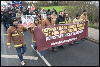 FBU national demo in Aylesbury to reinstate Ricky Matthews, 9.12.14, photo Paul Mattsson