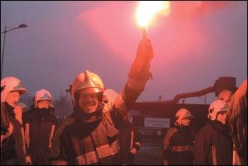 Striking firefighters in Belgium, December 2014