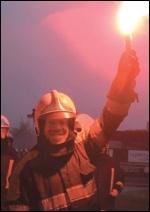 A striking Belgian firefighter