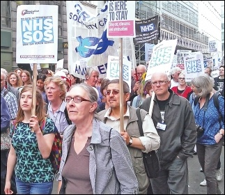 Marching against NHS cuts and privatisation, London 2014, photo by Bob Severn