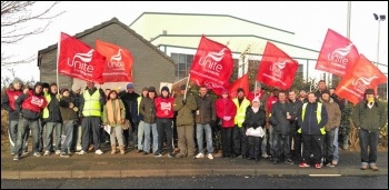 A picket at the start of their four week strike, photo Elaine Brunskill