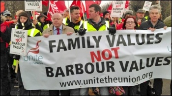 'Family values not Barbour values' - strikers march on 9 January, photo by Elaine Brunskill