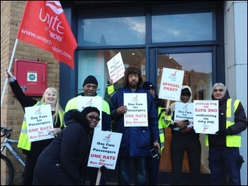 Ash Grove garage, Unite London bus strike, 13.1.15, photo by Judy Beishon
