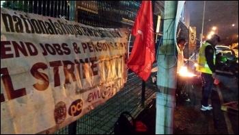 NSSN banner at West Ham garage, Unite London bus strike, 13.1.15, photo by Rob Williams