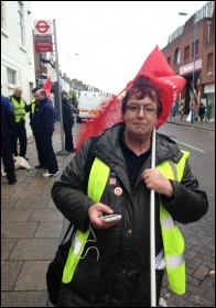 Bus driver Joanne Harris, Putney garage, Unite London bus strike, 13.1.15
