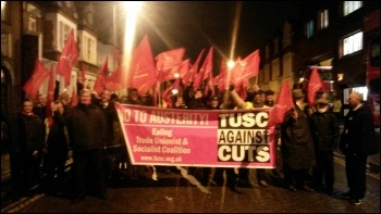 TUSC banner and picket at Putney garage, Unite London bus strike, 13.1.15