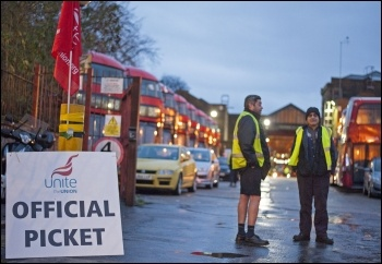 London bus strike,  Clapton bus garage, 13 January 2015, photo Paul Mattsson