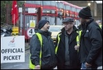 Clapton bus garage, London bus strike, 13.1.15, photo Paul Mattsson