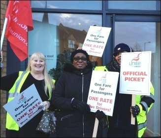 Ash Grove picketers, London bus strike 13.1.15, photo J Beishon