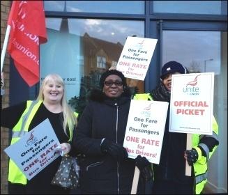 Ash Grove picketers, London bus strike 13.1.15, photo J Beishon