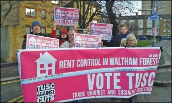 Waltham Forest TUSC supporters campaigning for rent control, photo Waltham Forest TUSC