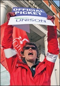 A Unison member on strike, photo Paul Mattsson