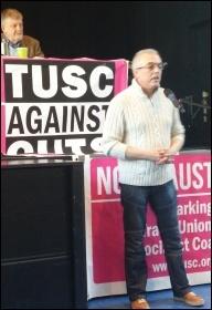 Kevin Bennett speaking, TUSC conference, 24.1.15, photo Neil Cafferky