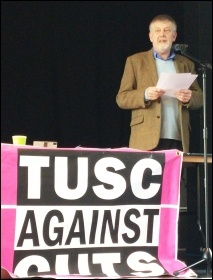 Dave Nellist, chair, TUSC conference, 24.1.15, photo Neil Cafferky