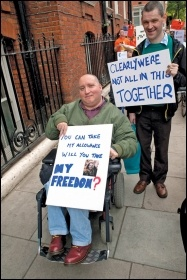 Campaigning against welfare cuts and benefit sanctions, photo Paul Mattsson