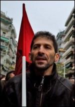 A Greek worker demonstrating in Thessaloniki, photo Ged Travers