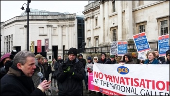 Mark Serwotka, PCS general secretary, speaking to National Gallery pickets, 3.2.15, photo Rob Williams