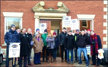 PCS members at ICO in Wilmslow on strike, photo by Matt Kilsby