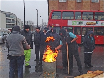 Palmers Green garage during the London bus strike on 05.02.15, photo Paula Mitchell