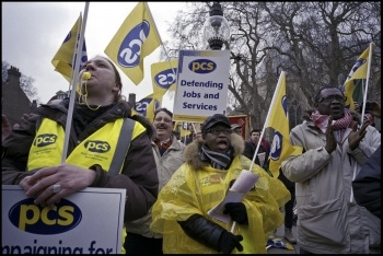 PCS members demonstrating, photo by Paul Mattsson