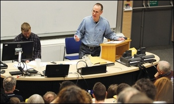 Clive Heemskerk reporting on TUSC's electoral plans for 2015, photo by Senan