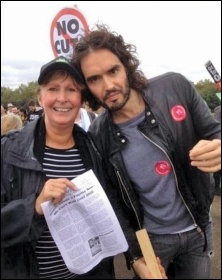 Amy Murphy with Russell Brand. Amy won 45% in the Usdaw presidential election