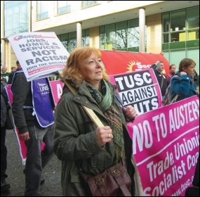 Socialist Party members and TUSC supporters on the Newcastle counter-demo against far-right group Pegida, photo Elaine Brunskill