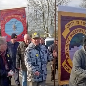 Former striking miners retrace their steps, 30 years to the day since they marched back to Shireoaks colliery, near Worksop. Former Yorkshire, Derbyshire and Notts miners and supporters marked the anniversary., photo J Dale