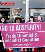 No to austerity - TUSC banner, photo Leicester TUSC
