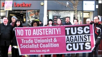Leicester TUSC supporters protest, photo Leicester TUSC