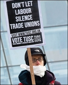 TUSC supporters protesting outside Labour's Collins Review conference in 2014, photo Paul Mattsson