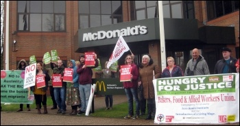 Outside McDonalds' northern regional office on Cross Lane in Salford, 15.4.15