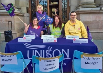 Empty chairs at the Glasgow Homlessness workers' negotiating table