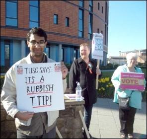 Salford TUSC protest against TTIP, 18.4.15