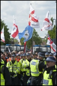 Police enabling another far-right group, the EDL, to rally in Walthamstow, 9.5.15, photo Paul Mattsson