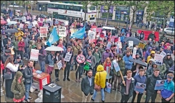 A Leeds anti-austerity protest on the day of the 2015 Queen's Speech, photo by Leeds SP