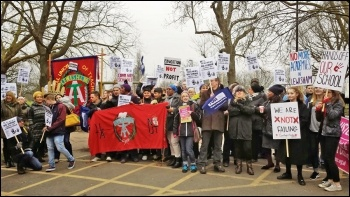 Striking teachers and students lobby a Prendergast governors' meeting in Lewisham