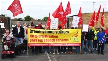 Striking against privatisation, Bromley, photo Rob Williams
