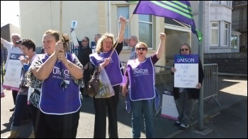 Unison members in Wales protesting against education cuts, photo R Job