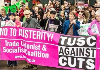 Anti-cuts demo in Swansea, 13.6.15, photo Les Woodward