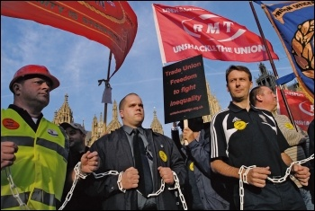 Protest against the anti-union laws, photo Paul Mattsson