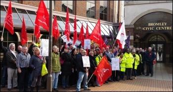 Striking workers picket Bromley council, photo Rob Williams