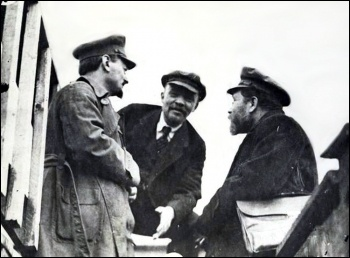 Leon Trotsky, Vladimir Lenin and Lev Kamenev (left to right)