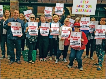 Bromley Unite members protest against the victimisation of branch secretary Kathy Smith, photo by Onay Kasab