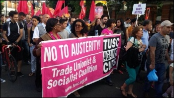 TUSC banner on the 20 June demo, 21.7.15, photo Neil Cafferky