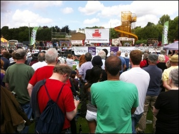 Jeremy Corbyn speaking at the Durham miners' gala, 11th July 2015, photo by Dave Beale