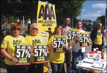 Anti-Austerity Alliance (AAA) activists protesting against water charges in Ireland, August 2015, photo Socialist Party (CWI Ireland)
