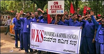Striking workers in India