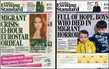 Evening Standard refugee front pages, September 2015