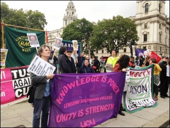 Trade unionists gathering near parliament for a Kill-the-Bill protest called by the bakers' union, 14.9.15, photo by Paula Mitchell
